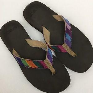 Reef Guatemalan Love Rainbow Frayed Flip Flops